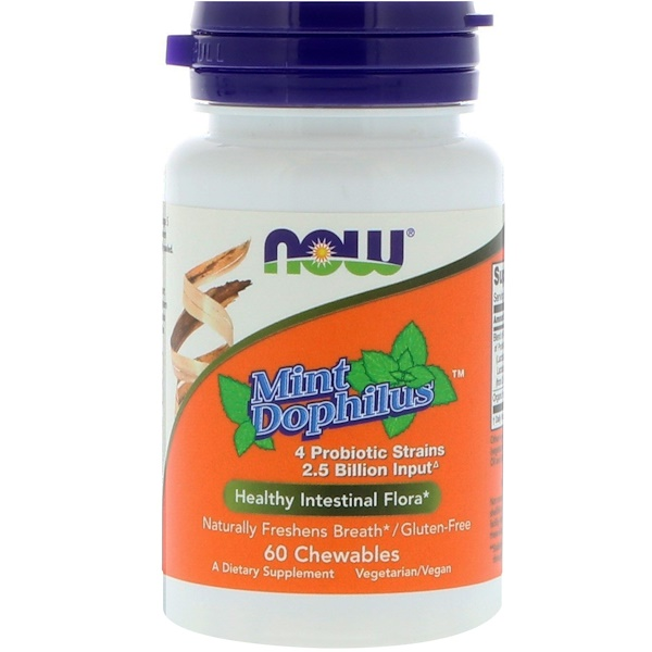 Now Foods, Mint Dophilus, 60 Chewables (Discontinued Item)
