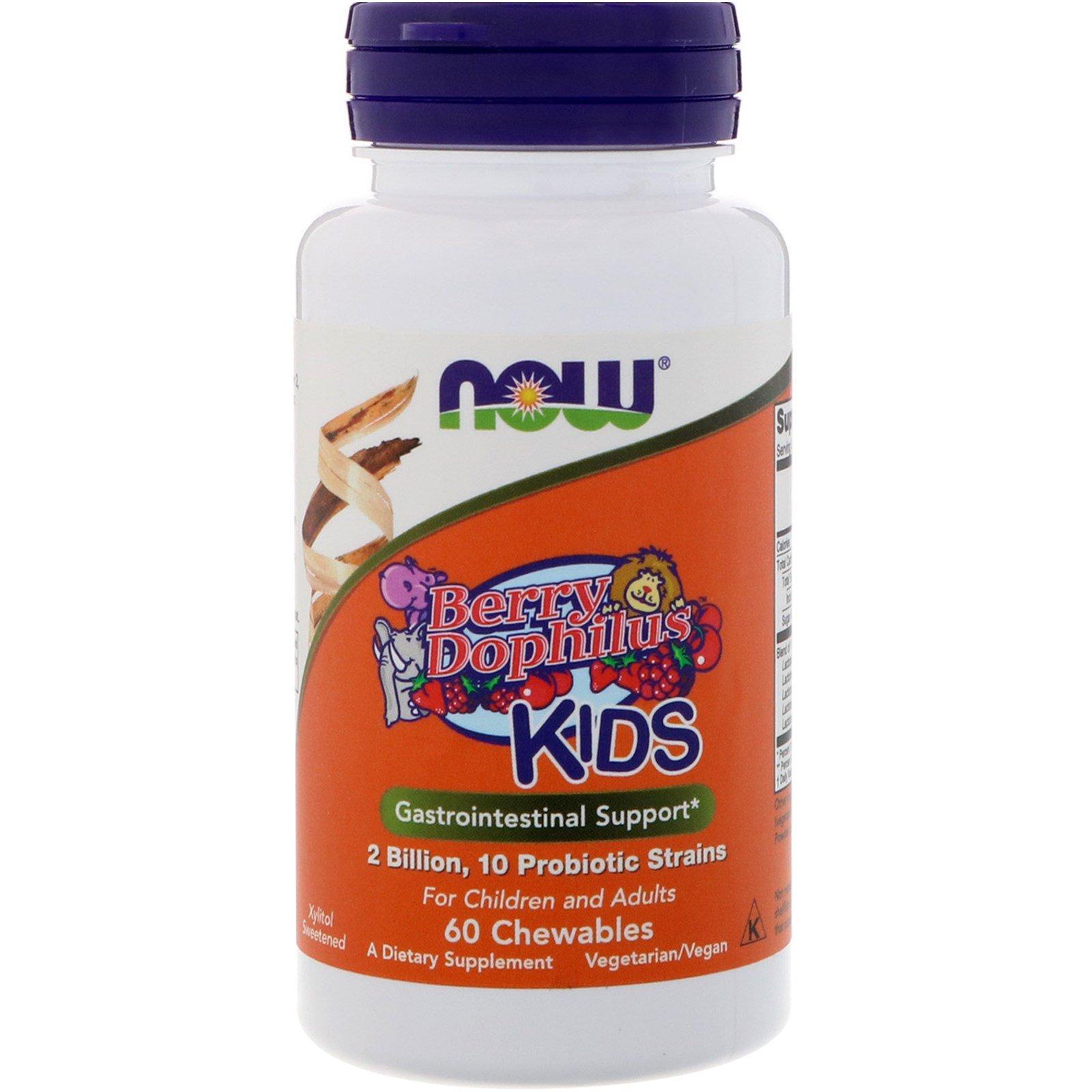 Now Foods, BerryDophilus, для детей, 2 миллиарда, 60 жевательных таблеток