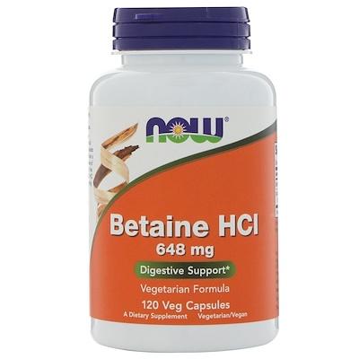 Купить Бетаина гидрохлорид, 648 мг, 120 растительных капсул