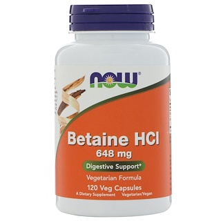 Now Foods, Betaína HCL, 648 mg, 120 cápsulas vegetales