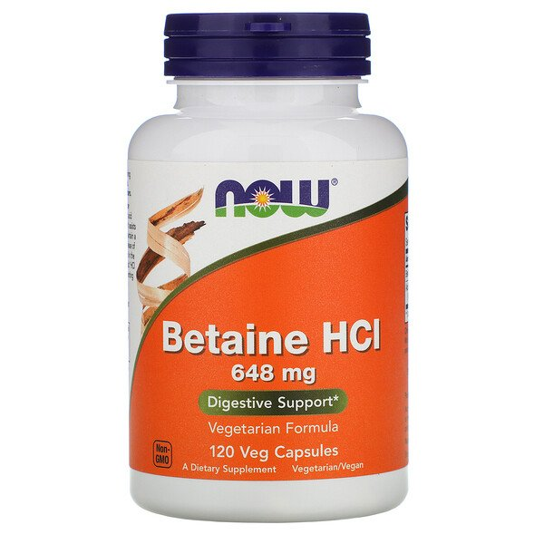Now Foods, Betaine HCL, 648mg, 베지 캡슐 120정