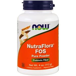 Now Foods, NutraFlora FOS, чистый порошок, 4 унции (113 г)