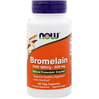 Now Foods, Bromelaína, 500 mg, 60 Cápsulas Veg.