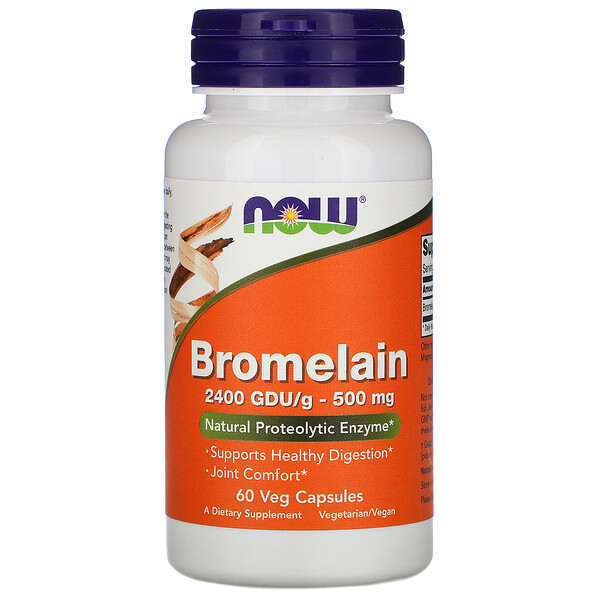 Now Foods, Bromelain, 500 mg, 60 cápsulas vegetarianas