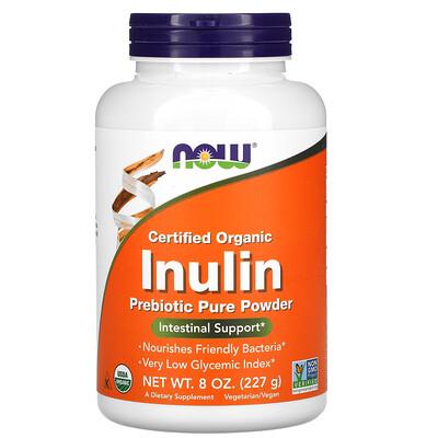 Now Foods сертифицированный органический инулин, пребиотик в чистом порошке, 227г (8унций)