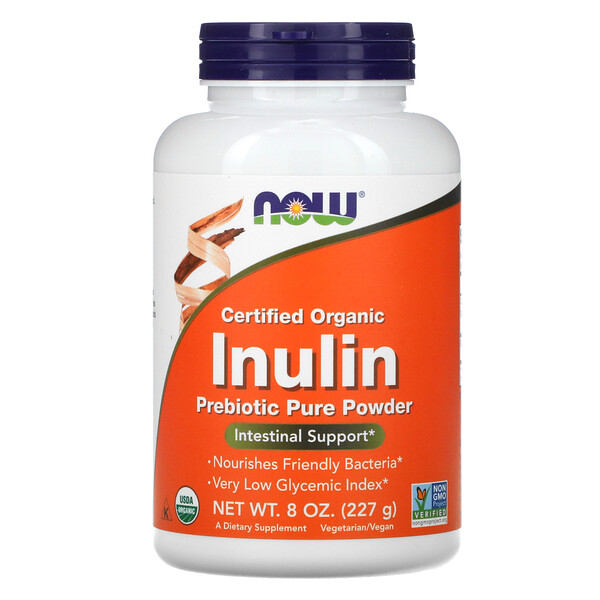 Now Foods, Certified Organic Inulin, Prebiotic Pure Powder, 8 oz (227 g)