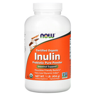 Now Foods, Certified Organic Inulin, Prebiotic Pure Powder, 1 lb (454 g)