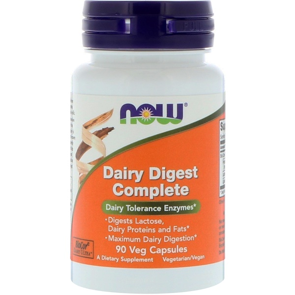 Now Foods, Dairy Digest Complete, 90 Cápsulas Vegetais