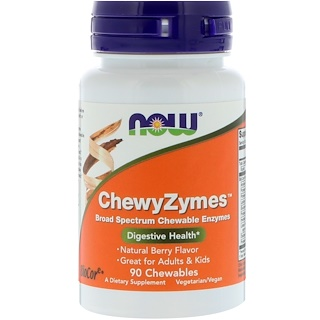 Now Foods, ChewyZymes, Natural Berry Flavor, 90 Chewables