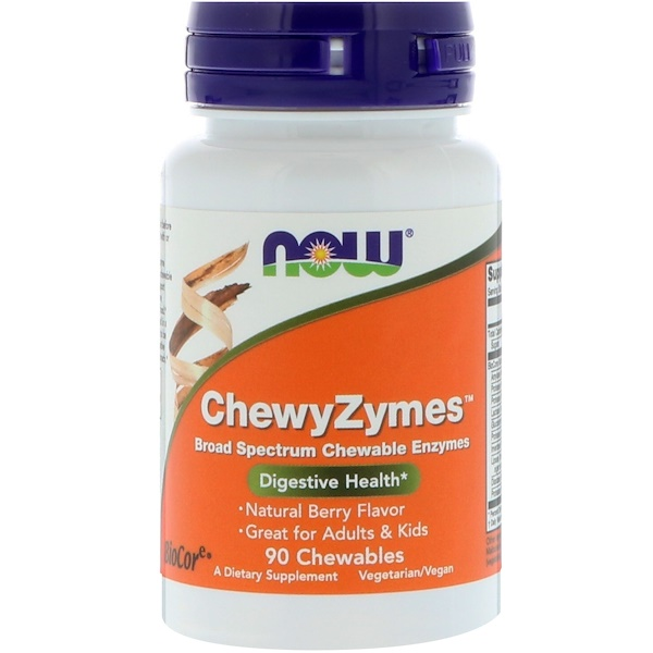 Now Foods, ChewyZymes, sabor cereza natural, 90 masticables