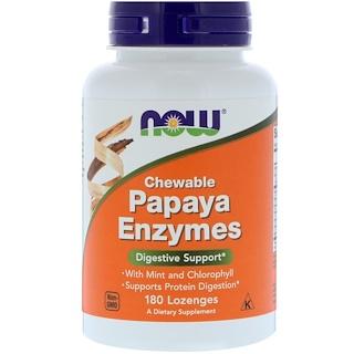 Now Foods, Papaya-Enzyme zum Kauen, 180 Pastillen