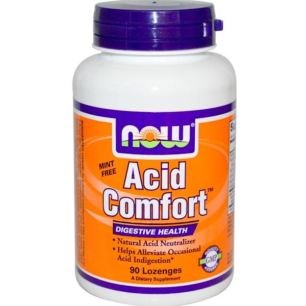 Now Foods, Acid Comfort, Mint Free, 90 Lozenges (Discontinued Item)