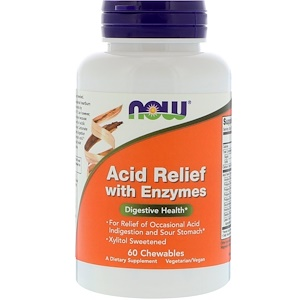 Now Foods, Acid Relief with Enzymes, 60 Chewables отзывы