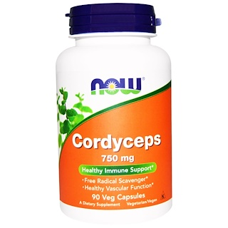 Now Foods, Cordyceps, 750 mg, 90 Cápsulas Vegetais