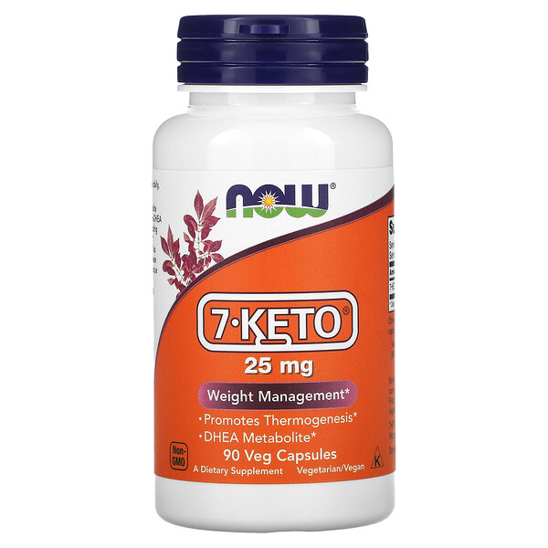 Now Foods, 7-KETO, 25 mg, 90 cápsulas vegetales