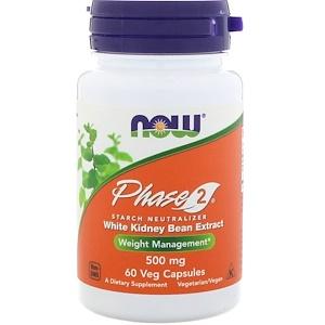 Now Foods, Фаза 2, нейтрализатор крахмала, 500 мг, 60 вегетарианских капсул инструкция, применение, состав, противопоказания