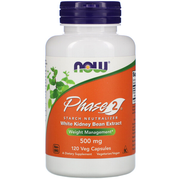 Now Foods, Phase 2, Starch Neutralizer, 500 mg, 120 Veg Capsules