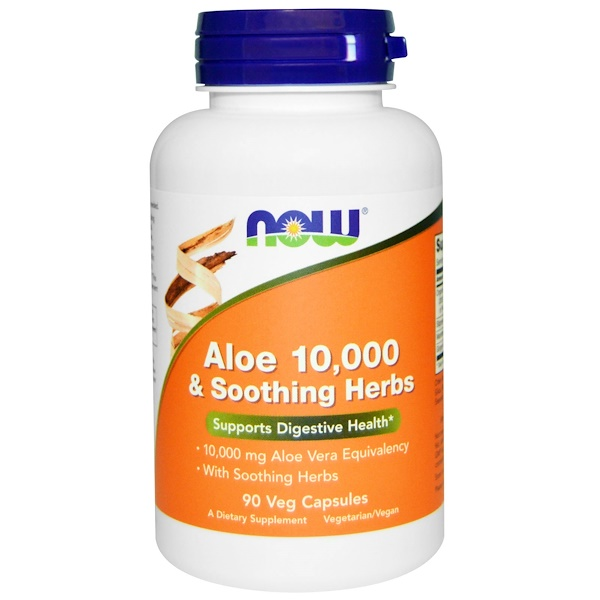 :Now Foods, Aloe 10,000 & Soothing Herbs, 90 Veggie Caps