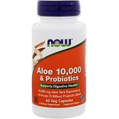 Now Foods, Алоэ 10 000 & пробиотики, 60 вегетарианских капсул