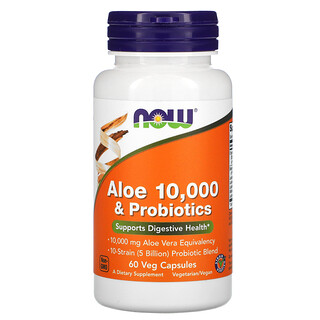 Now Foods, Aloe 10,000 & Probiotics, 60 Veg Capsules
