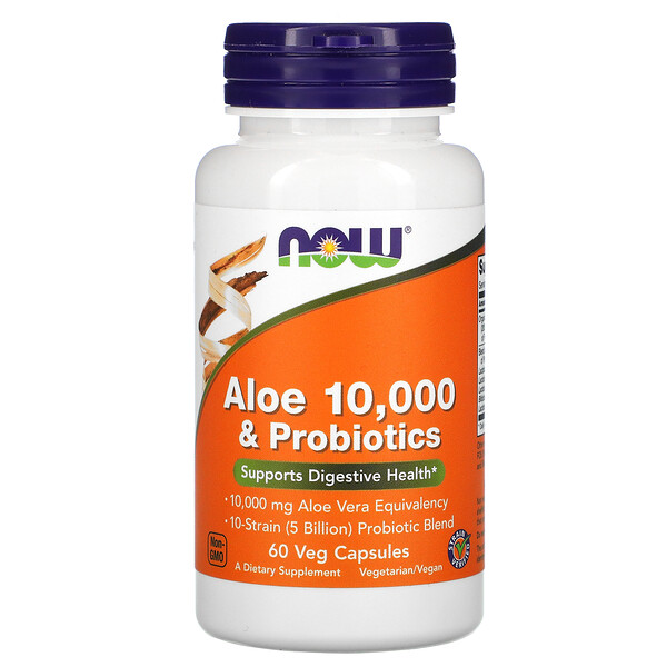 Now Foods, Aloe 10,000 & Probiotics, 60 Veg Capsules