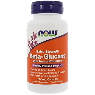 Now Foods, Beta-Glucanos, con ImmunEnhancer, Extra Fuerza, 250 mg, 60 cápsulas vegetales