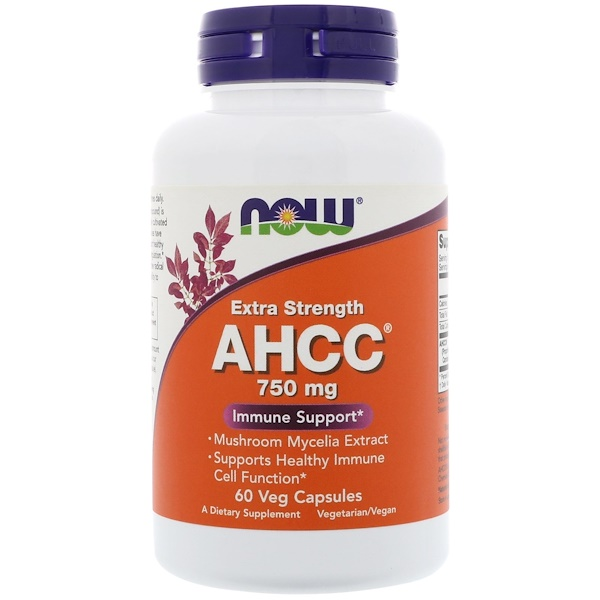 Now Foods, AHCC, Extra Strength, 750 mg, 60 Veg Capsules