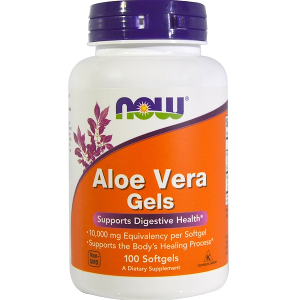 Now Foods, Aloe Vera em Gel, 100 Cápsulas Softgel
