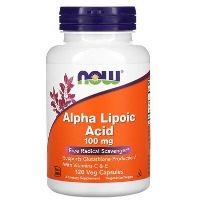 Now Foods альфа-липоевая кислота, 100мг, 120растительных капсул