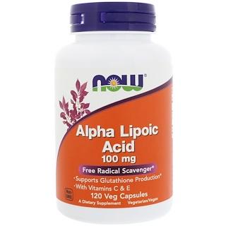 Now Foods, Ácido alfa lipoico, 100 mg, 120 cápsulas vegetales