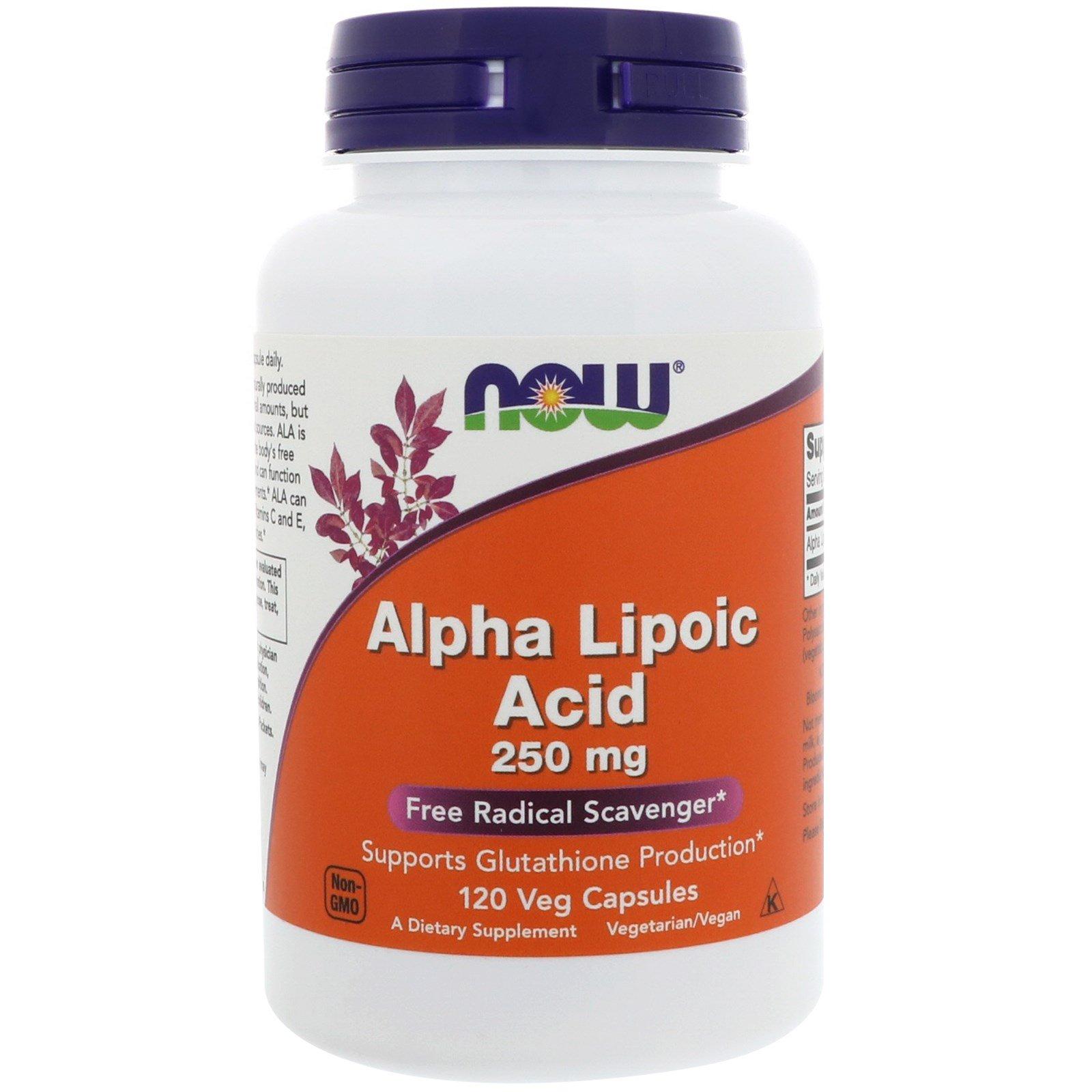 Now Foods, Альфа-липоевая кислота, 250 мг, 120 вегетарианских капсул