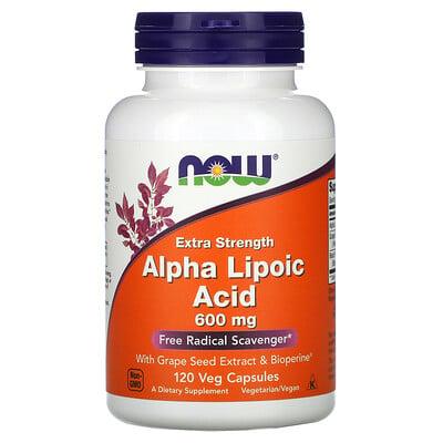 Купить Now Foods альфа-липоевая кислота, усиленное действие, 600мг, 120растительных капсул