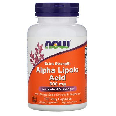 Now Foods Альфа-липоевая кислота, экстра сила, 600 мг, 120 растительных капсул