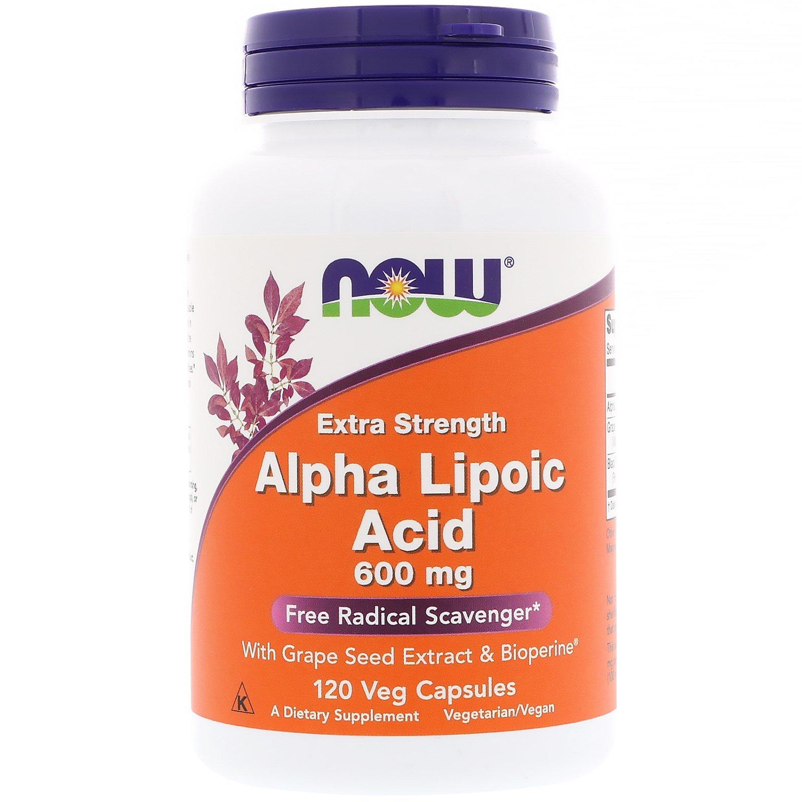 Now Foods, Альфа-липоевая кислота, экстра сила, 600 мг, 120 растительных капсул