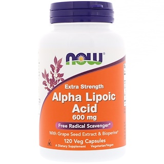 Now Foods, Alpha Lipoic Acid, Extra Strength, 600 mg, 120 Veg Capsules