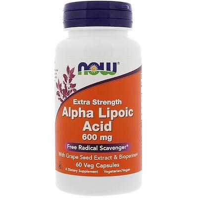 Альфа-липоевая кислота, экстра сила, 600 мг, 60 растительных капсул