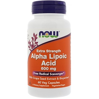 Now Foods, Alpha Lipoic Acid, Extra Strength, 600 mg, 60 Veg Capsules
