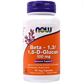 Now Foods, Beta-1,3/1,6-D-Glucano, 100 mg, 90 Cápsulas vegetales
