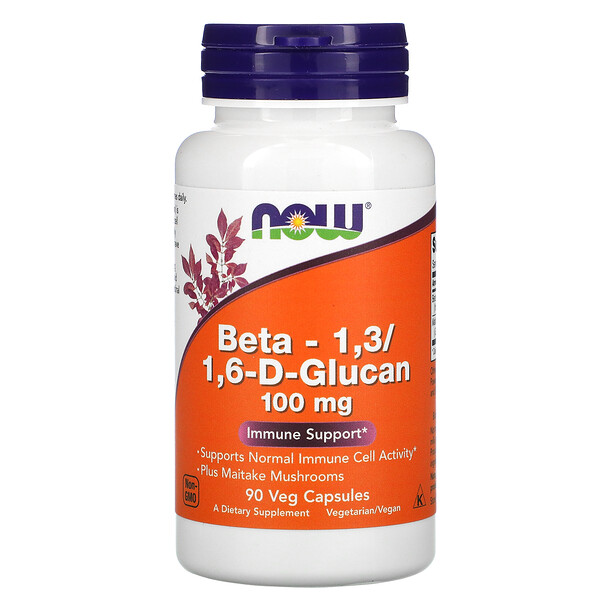 Now Foods, Beta-1,3/1,6-D-Glucan, 100 mg, 90 Veg Capsules