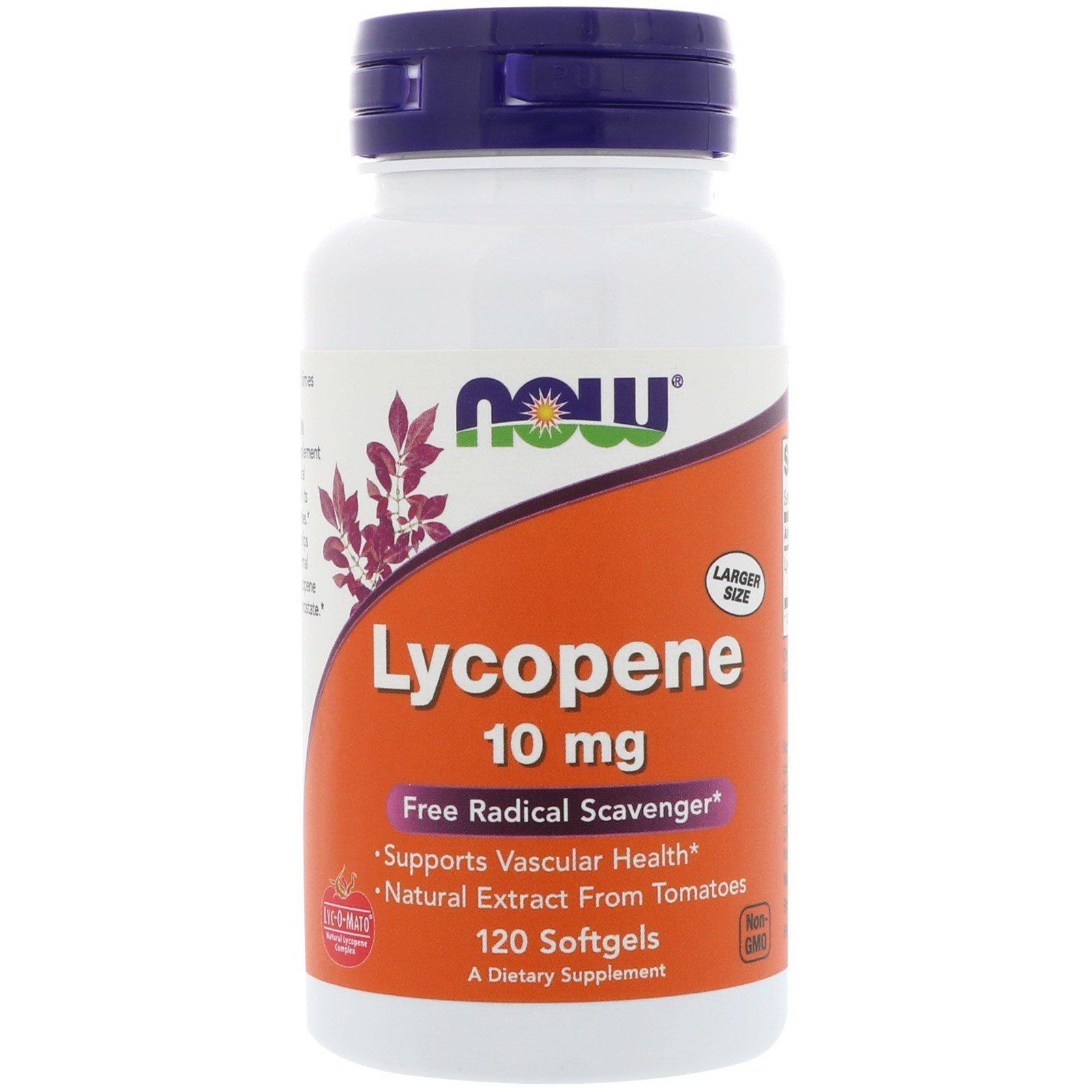 Now Foods, Ликопен, 10 мг, 120 мягких желатиновых капсул