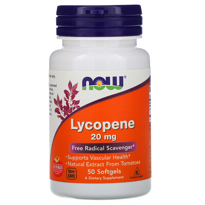 Now Foods Ликопин, 20 мг, 50 мягких таблеток