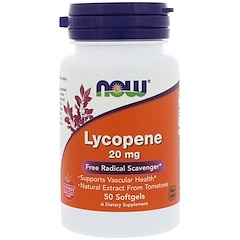 Now Foods, Lyco-Sorb Lycopin, 20 mg, 50 Softgelkapseln