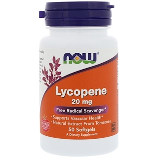 Now Foods, Lycopène, 20 mg, 50 capsules molles