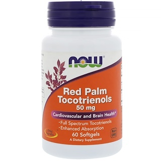 Now Foods, Tocotrienoles de palma roja, 50 mg, 60 cápsulas
