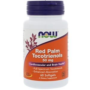 Now Foods, Токотриенолы из красной пальмы, 50 мг, 60 капсул инструкция, применение, состав, противопоказания