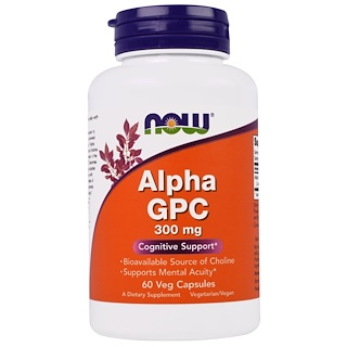 Now Foods, Alfa GPC, 300 mg, 60Cápsulas Vegetais