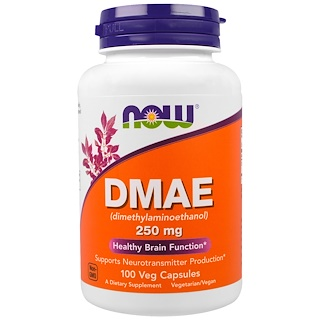 Now Foods, DMAE, 250 mg, 100 cápsulas vegetarianas