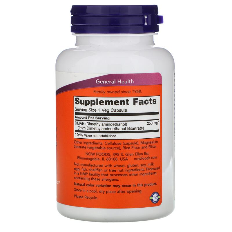 Now Foods, DMAE, 250 mg, 100 Veg Capsules - photo 1
