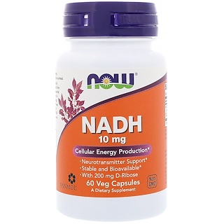 Now Foods, NADH、10 mg、ベジタリアンカプセル60錠
