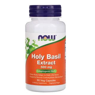 Now Foods, Экстракт священного базилика, 500 мг, 90 растительных капсул
